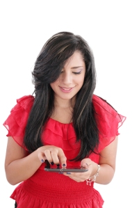 Young smiling business woman with tablet computer. Isolated on w