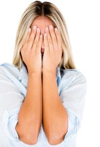 Woman feeling embarrassed