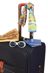 black suitcase trips and accessories for rest